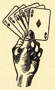 hand with cards illustration